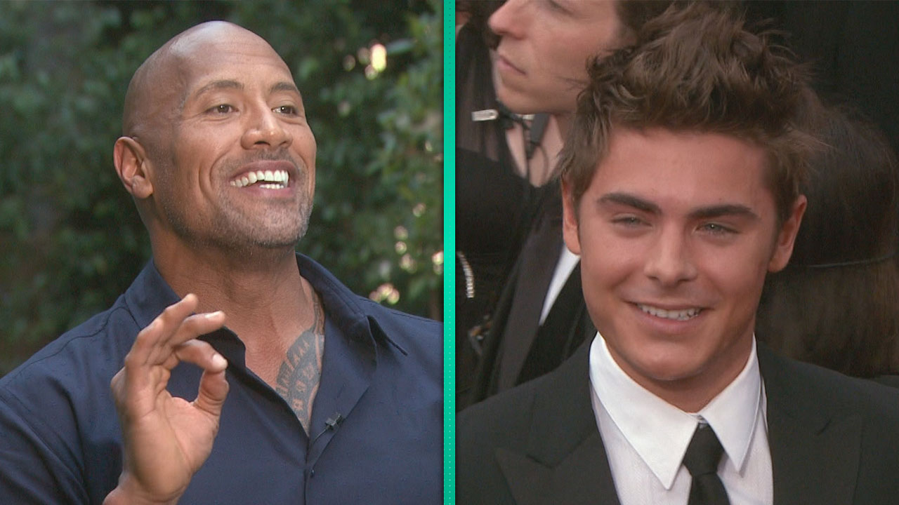 Dwayne Johnson Admires Zac Efrons Buff Bod Nice Tits Brother