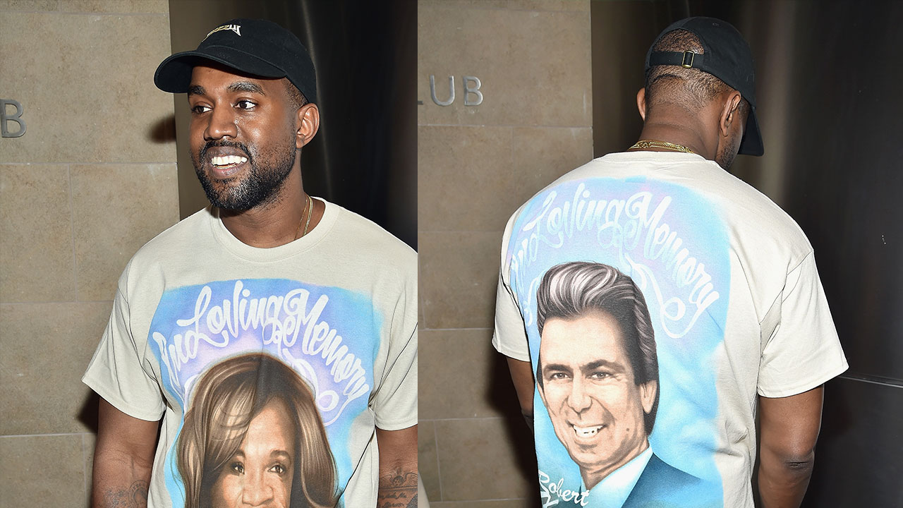 5eb71e040 Kanye West Pays Tribute to His Late Mother and Robert Kardashian Sr. With  Airbrushed T-Shirt