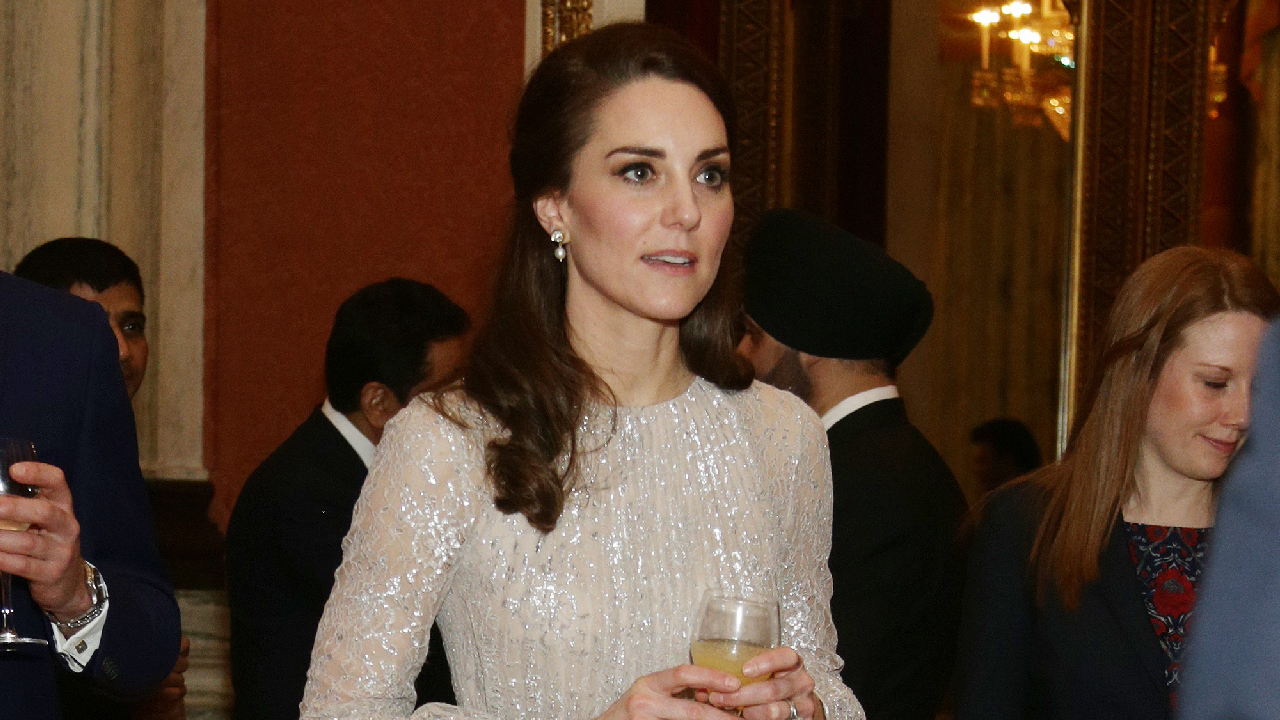 0d7b94ec62dd Kate Middleton Dazzles in Glittering Gold Gown While Attending Royal  Reception With Prince William