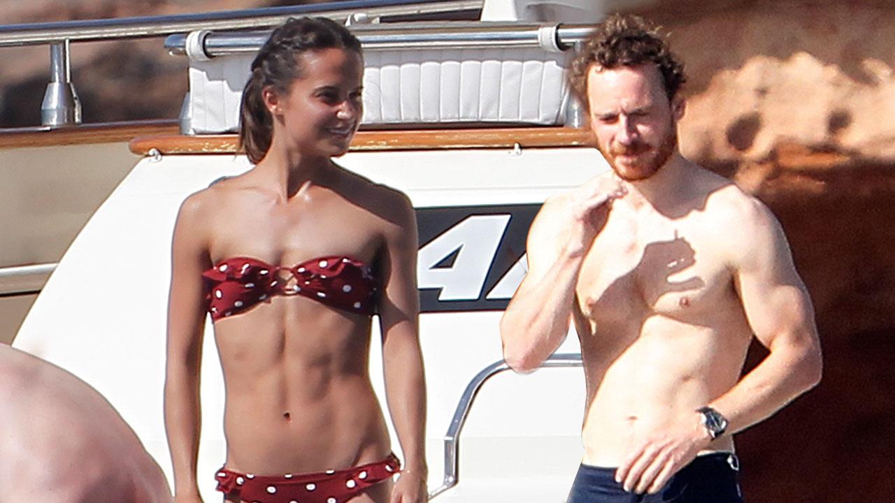 Vikander Sizzles Polka Dot Alicia Red Bikini As Hot Michael In UpVLqSGzM