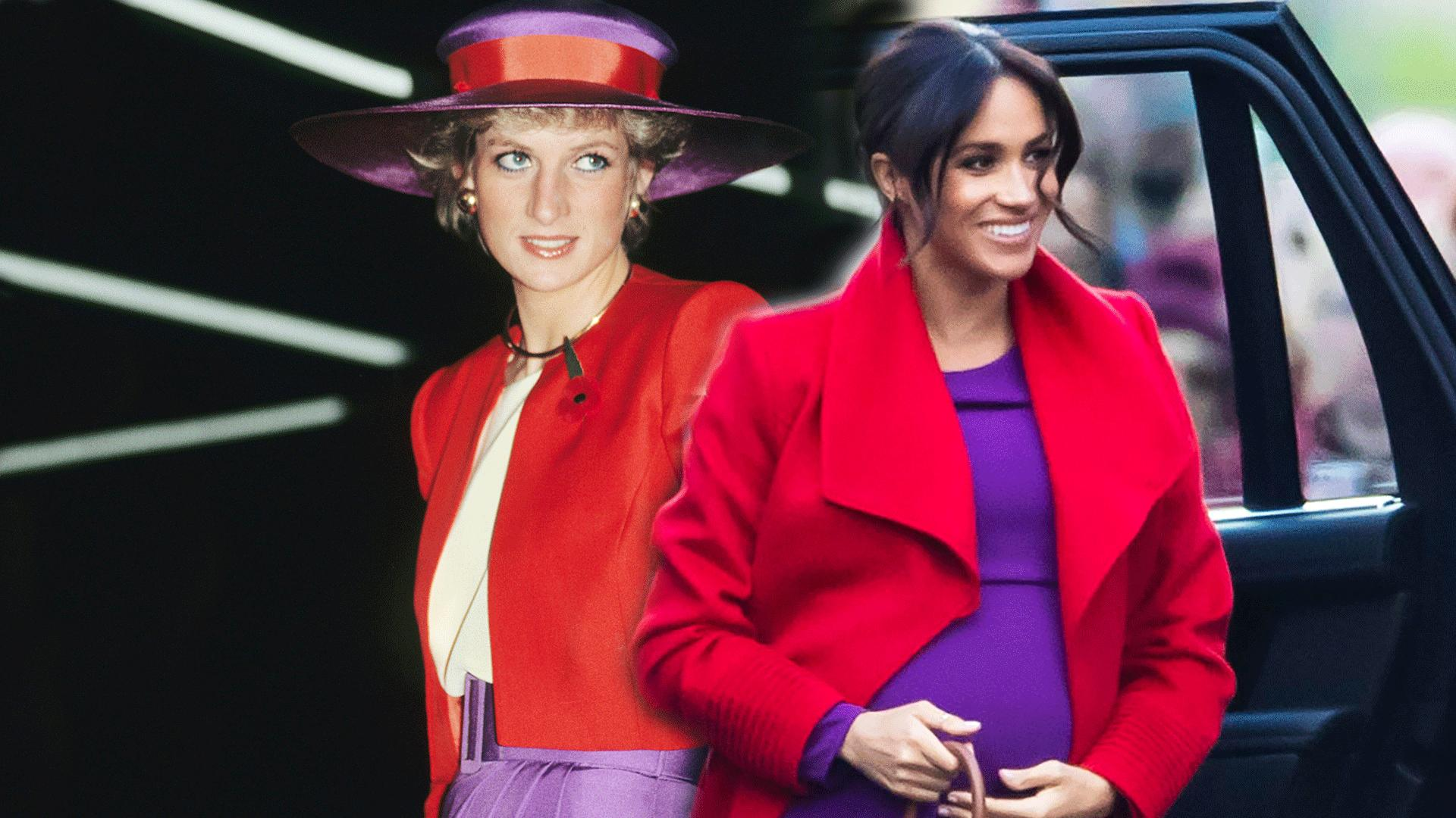 Meghan Markle Looks Like Princess Diana in Her Bold Red-and-Purple Outfit 1d4adfc000d32