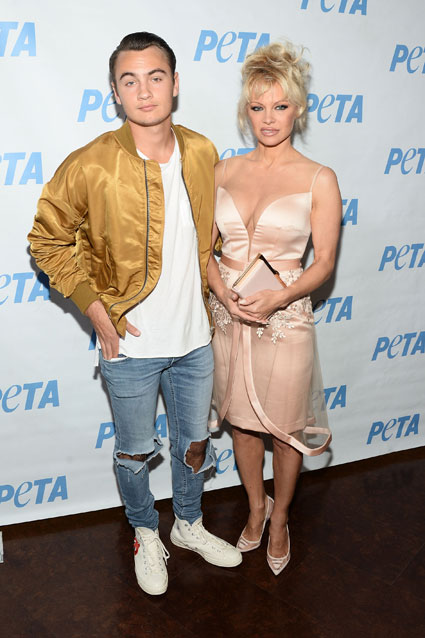 The Baywatch star and her son posed together at the launch party for Prince's PETA Song at PETA on June 7 in Los Angeles, California. Photo: Getty Images