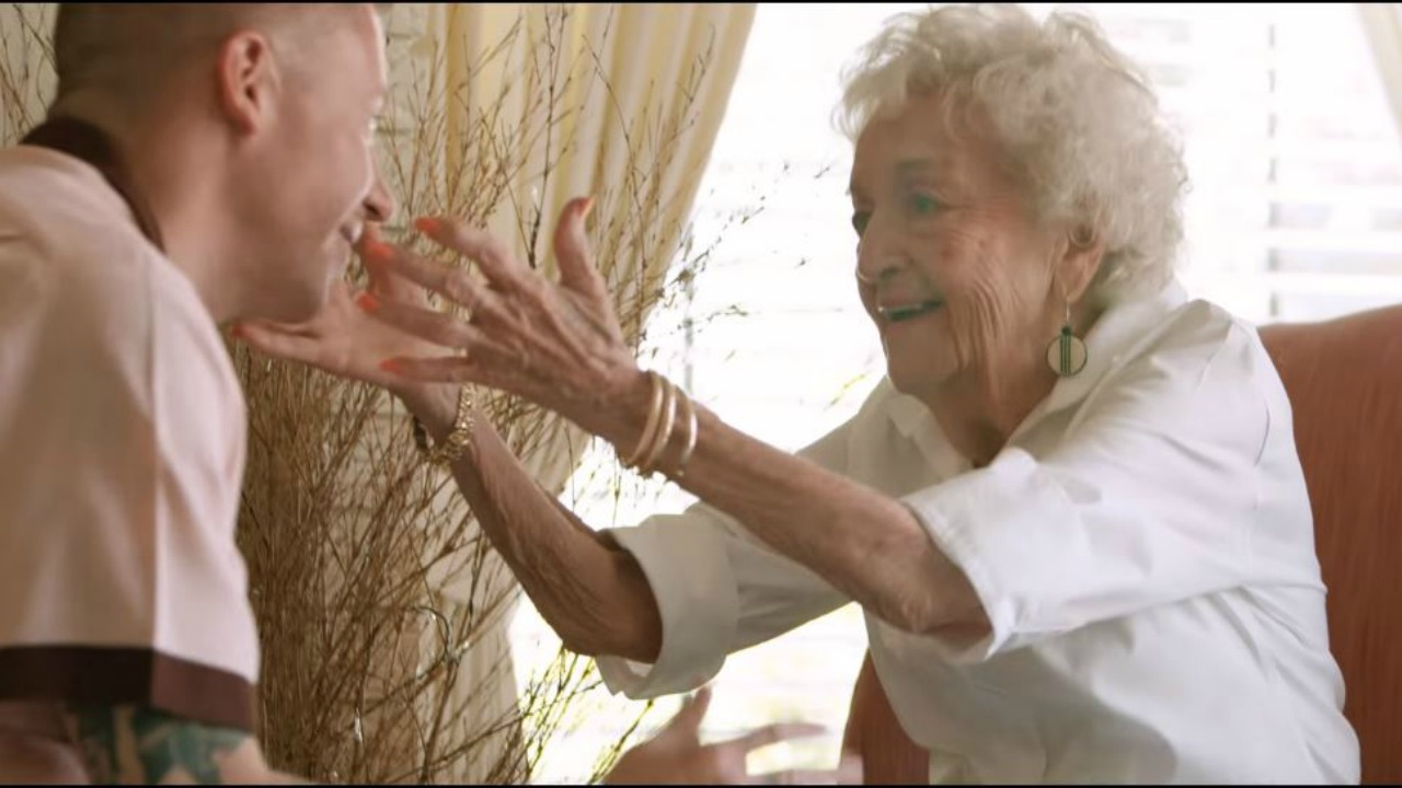 macklemore surprises his grandmother on her 100th birthday in he